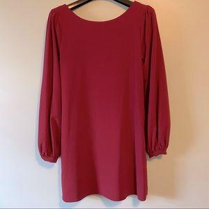 Lulu's Burgundy Red Long Sleeved Shift Dress S